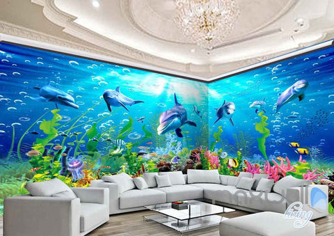 Image of 3D Dophins Playing Coral Entire Living Room Bathroom Wallpaper Wall Murals Art Prints IDCQW-000149