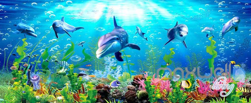 3D Dophins Playing Coral Entire Living Room Bathroom Wallpaper Wall Murals Art Prints IDCQW-000149