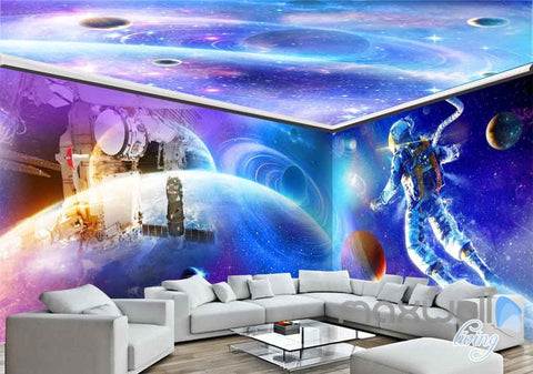 3D Astronauts Universe Ceiling Entire Room Wallpaper Wall Murals Art Prints IDCQW-000152