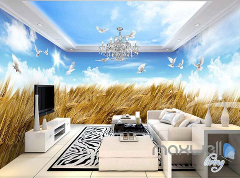 Image of 3D Wheat Fields Blue Sky Birds Entire Room Wallpaper Wall Murals Art Prints IDCQW-000154