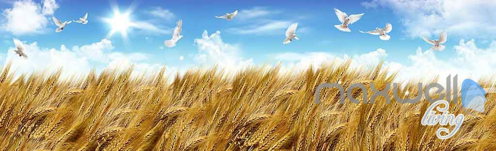 3D Wheat Fields Blue Sky Birds Entire Room Wallpaper Wall Murals Art Prints IDCQW-000154