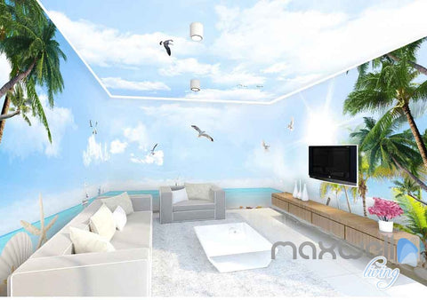 Image of 3D Coast View Clouds Sunshine Enire Living Room Wallpaper Wall Murals Art Prints IDCQW-000156