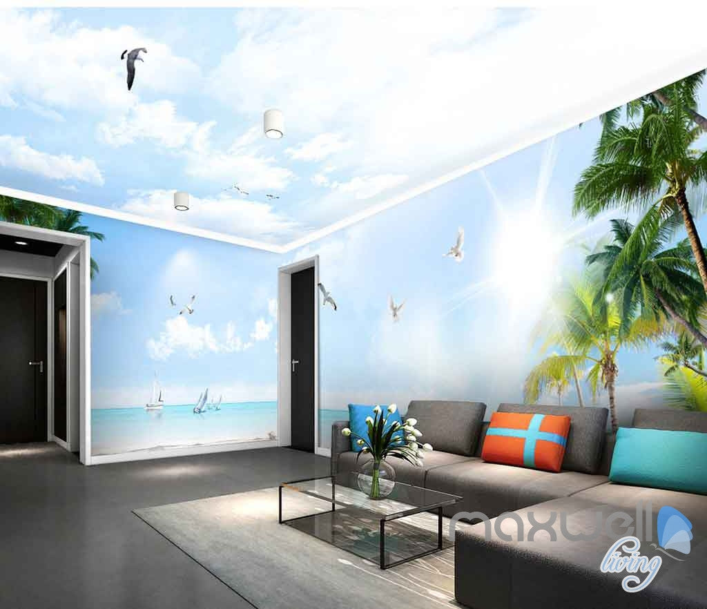 Wall Mural For Living Room 3d Coast View Clouds Sunshine Enire Living Room Wallpaper Wall