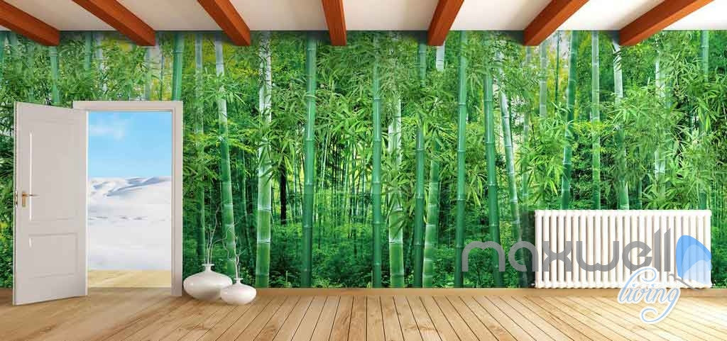 3D Large Bamboo Forest Ceiling Entire Living Room Wallpaper Wall