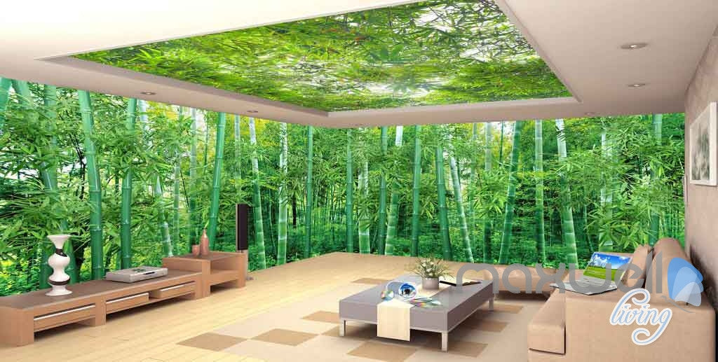 3D Large Bamboo Forest Ceiling Entire Living Room Wallpaper Wall Murals Art Prints IDCQW-000157