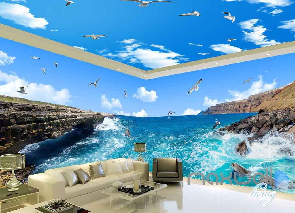 3D Reef Sea View Bird Entire Room Wallpaper Wall Mural Art Prints IDCQW-000158