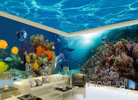 Image of 3D Coral Dophin Colorful Fish Entire Room Wallpaper Wall Mural Art Prints IDCQW-000159