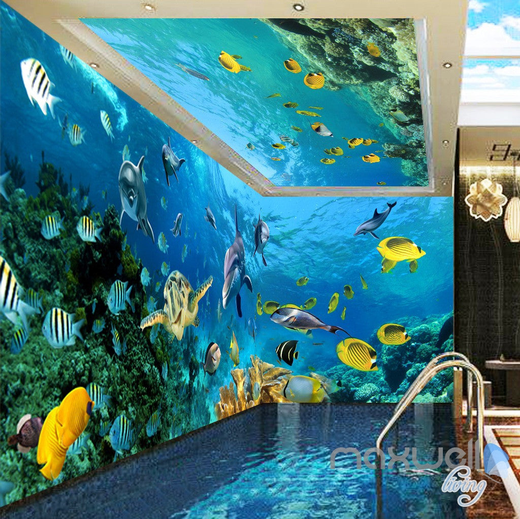 3D Turtle Dophin Tropical Fish Entire Room Wallpaper Wall Mural Art Prints IDCQW-000160