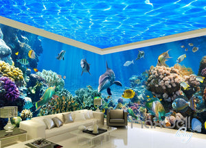 3D Dophins Coral Clear Ceiling Water Entire Room Wallpaper Wall Mural Art IDCQW-000161
