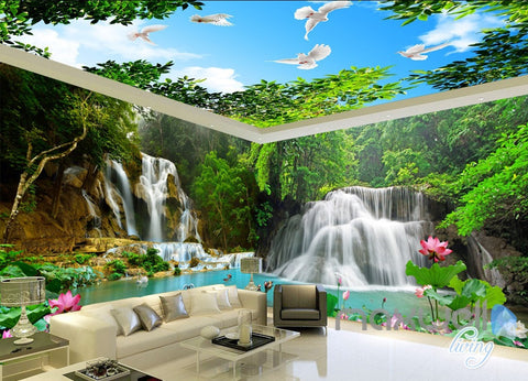 Image of 3D Mountain Waterfall Lilypad Lotus Entire Room wallpaper Wall Mural Art Prints IDCQW-000162