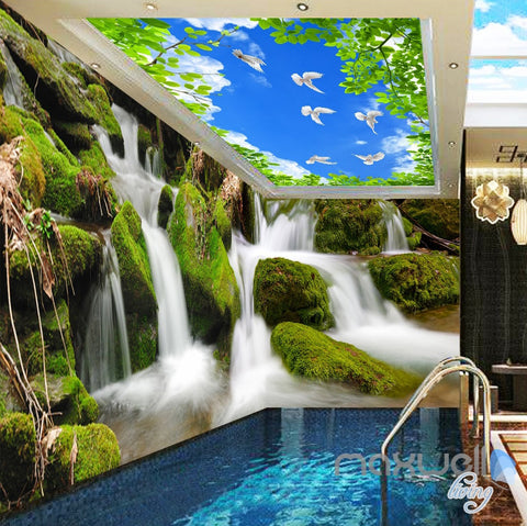 Image of 3D Long Waterfall Blue Sky Bird Ceiling Entire Room Wallpaper Wall Mural Art IDCQW-000163