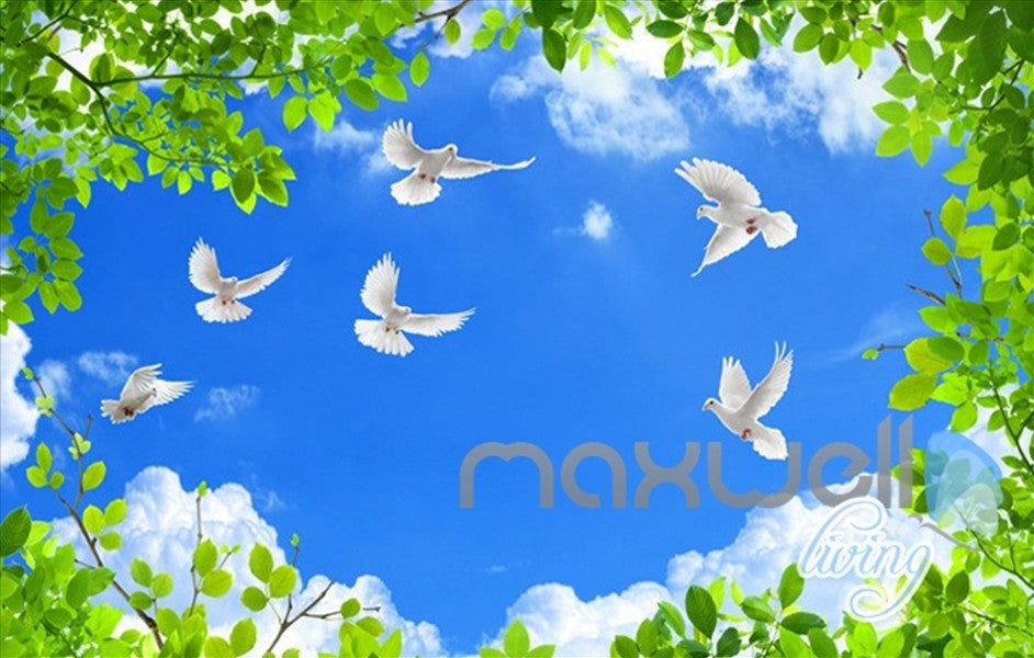 3D Long Waterfall Blue Sky Bird Ceiling Entire Room Wallpaper Wall Mural Art IDCQW-000163