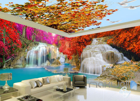 Image of 3D Maple Tree Waterfall Entire Room Wallpaper Wall Mural Art Prints IDCQW-000164