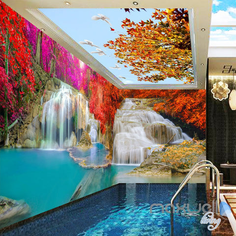 3D Maple Tree Waterfall Entire Room Wallpaper Wall Mural Art Prints IDCQW-000164