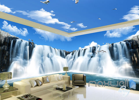 3D Large Waterfall Blue Sky Ceiling Entire Room Wallpaper Wall Mural Art Prints IDCQW-000165