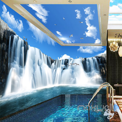 Image of 3D Large Waterfall Blue Sky Ceiling Entire Room Wallpaper Wall Mural Art Prints IDCQW-000165