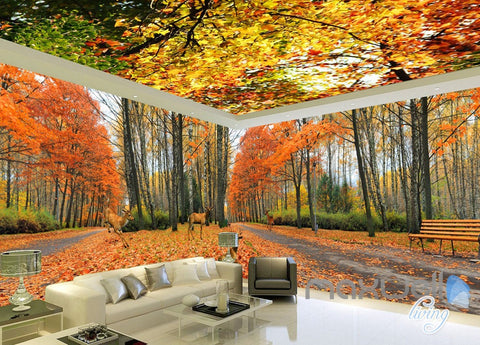 3d wall murals idecoroom for Autumn forest wallpaper mural