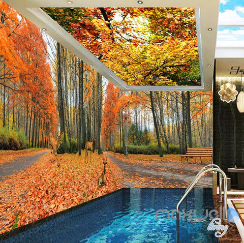 Image of 3D Autumn Forest Park Entire Living Room Wallpaper Wall Mural Art Prints IDCQW-000168