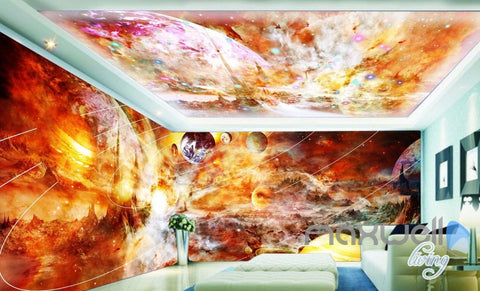 Image of 3D Solar System Universe Entire Living Room Wallpaper Wall Mural Art Prints IDCQW-000169