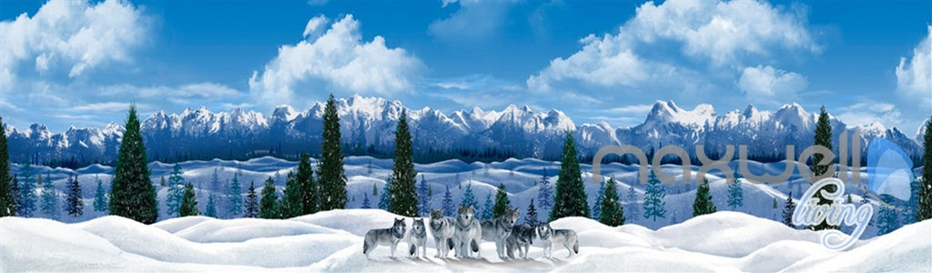 3D Snow Mountain Wolf Sky Clouds Ceiling Entire Room Wallpaper Wall Mural IDCQW-000170