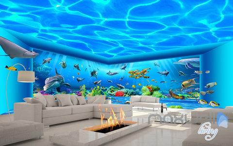 Image of 3D Auquarium View Ray Fish Entire Room Wallpaper Wall Mural Art Prints IDCQW-000171