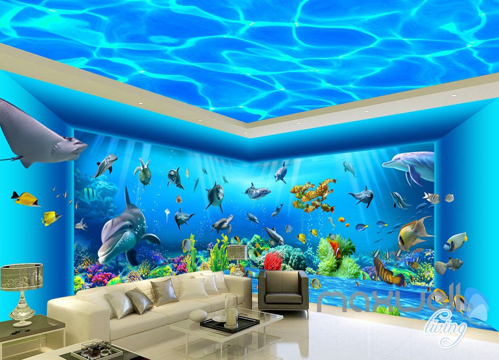 3D Auquarium View Ray Fish Entire Room Wallpaper Wall Mural Art Prints IDCQW-000171