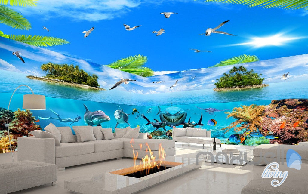 3D Island Underwater Coral Sharks Entire Room Wallpaper Wall Mural Art IDCQW-000172
