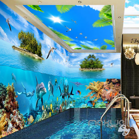 Image of 3D Island Underwater Coral Sharks Entire Room Wallpaper Wall Mural Art IDCQW-000172
