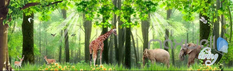 Image of 3D Froest Animals Grass Tree Entire Living Room Wallpaper Wall Mural Art IDCQW-000173