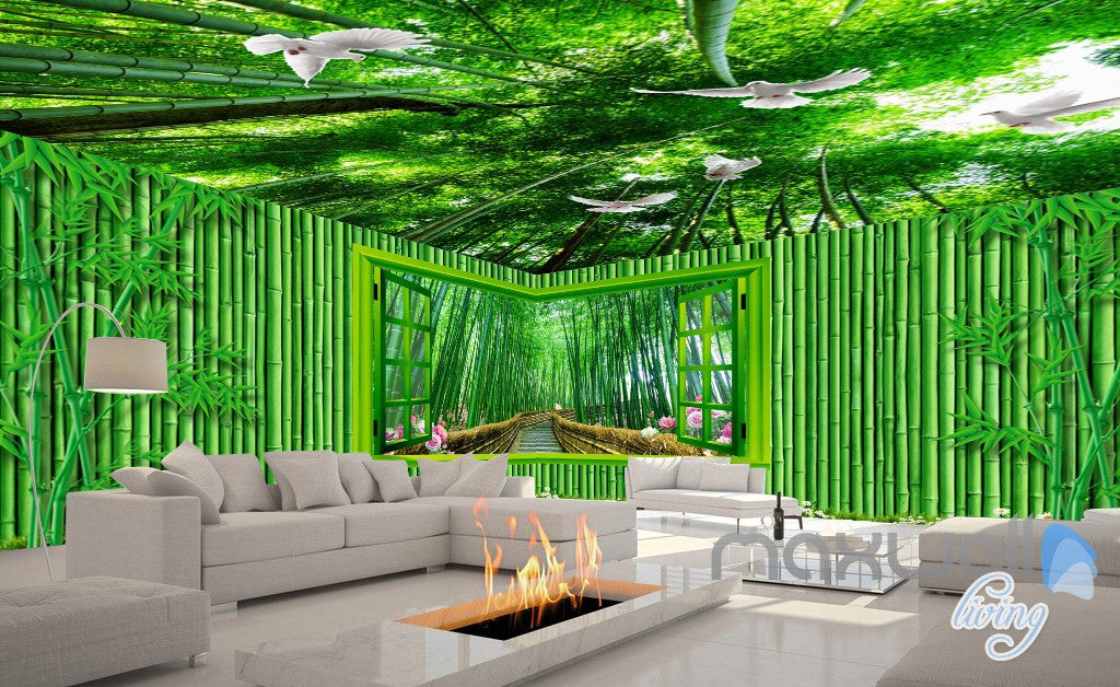 3D Bamboo House Froest Window View Entire Living Room