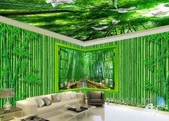 3D Bamboo House Froest Window View Entire Living Room Wallpaper Wall Mural Art IDCQW-000174