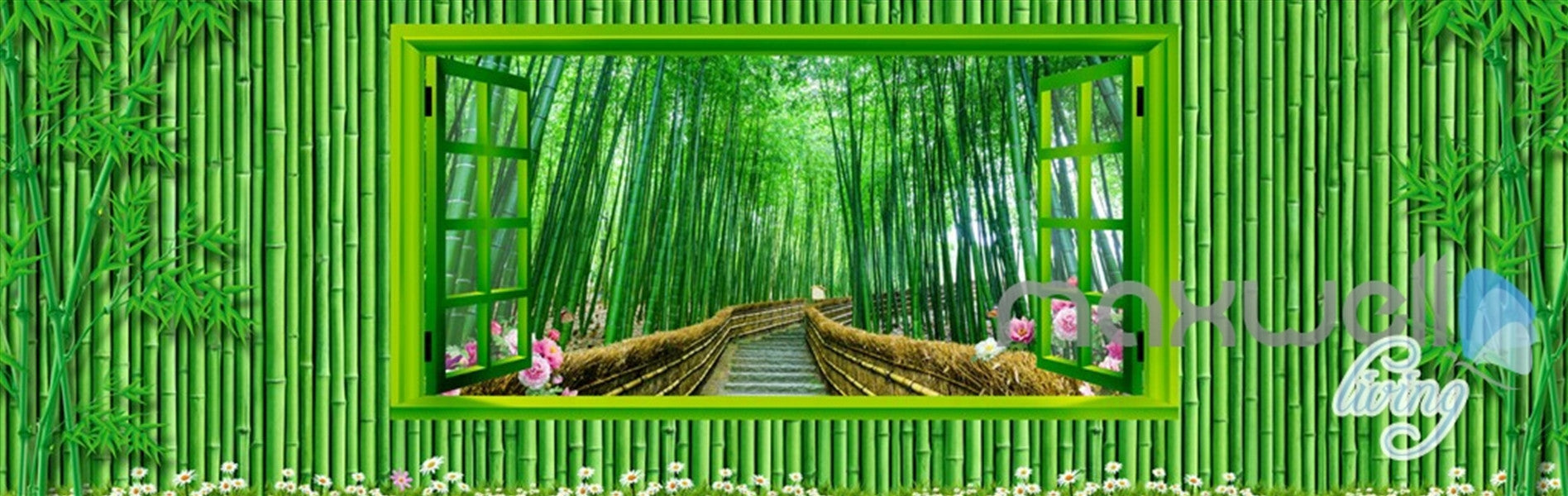 3d bamboo house froest window view entire living room wallpaper 3d bamboo house froest window view entire living room wallpaper wall mural art idcqw 000174