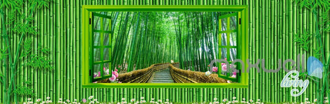Image of 3D Bamboo House Froest Window View Entire Living Room Wallpaper Wall Mural Art IDCQW-000174