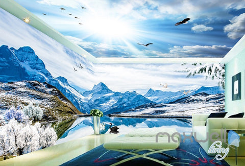 Image of 3D Snow Mountain Swan Lake Sky Clouds Ceiling Entire Room Wallpaper Wall Mural IDCQW-000175