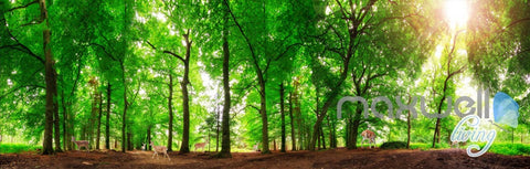 Image of 3D Green Sunshine Forest Deer Entire Living Room Wallpaper Wall Mural Art Prints  IDCQW-000178