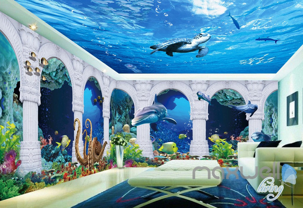 3D Turtle Fish Octopus Arch Entire Living Room Wallpaper Wall Mural Art Prints IDCQW-000179
