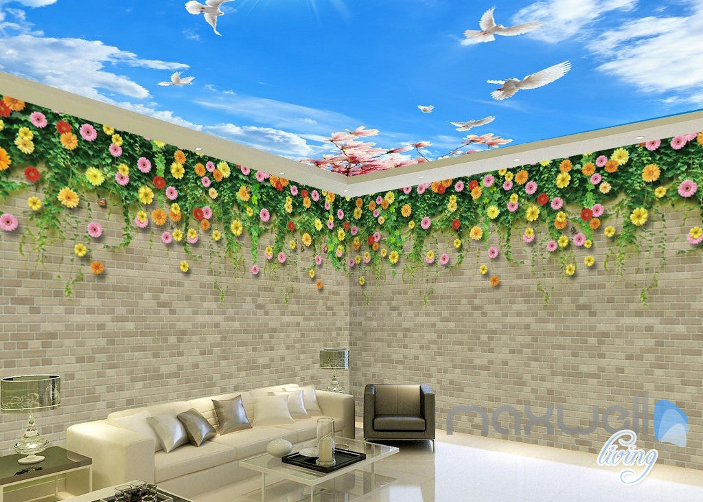 3D Flower Vine Bird Brick Wall Entire Living Room Wallpaper Mural Art Prints IDCQW-000181