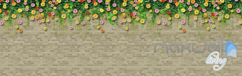 Image of 3D Flower Vine Bird Brick Wall Entire Living Room Wallpaper Mural Art Prints IDCQW-000181