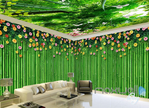 Image of 3D Bamboo Wall Flower Top Ceiling Entire Living Room Wallpaper Wall Mural Art IDCQW-000182