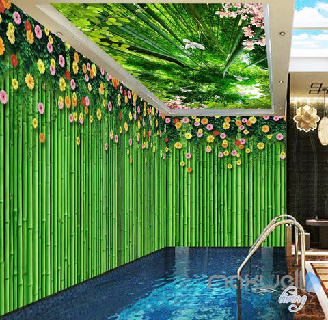 3D Bamboo Wall Flower Top Ceiling Entire Living Room Wallpaper Wall Mural Art IDCQW-000182