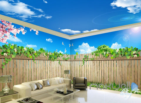 3D Garden Fence Flower Sunshine Sky Ceiling Entire Living Room Wallpaper Wall Mural IDCQW-000183