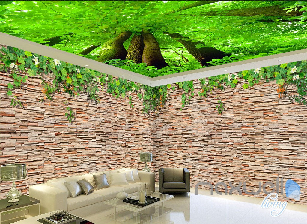 3D Brick Wall Tree Top Ceiling Entire Living Room Wallpaper Mural Decor Art IDCQW-000185
