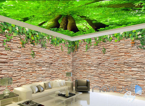 Image of 3D Brick Wall Tree Top Ceiling Entire Living Room Wallpaper Mural Decor Art IDCQW-000185