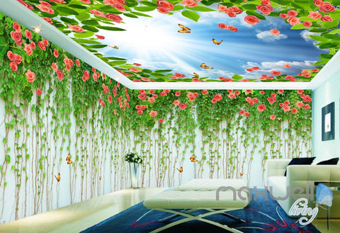Image of 3D Rose Butterfly Vine Sunshine Ceiling Entire Living Room Wallpaper Wall Mural Art IDCQW-000186