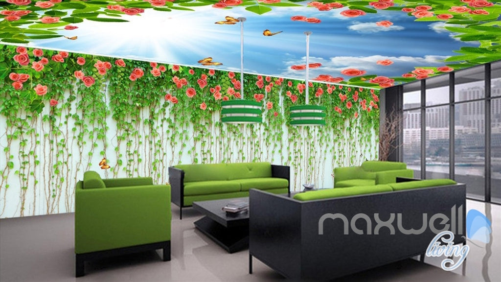 3D Rose Butterfly Vine Sunshine Ceiling Entire Living Room Wallpaper Wall Mural Art IDCQW-000186