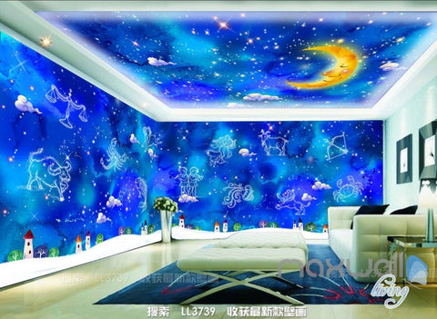 Image of 3D 12 Constellations Moon Ceiling Entire Living Room Wallpaper Wall Mural Art Decor IDCQW-000187