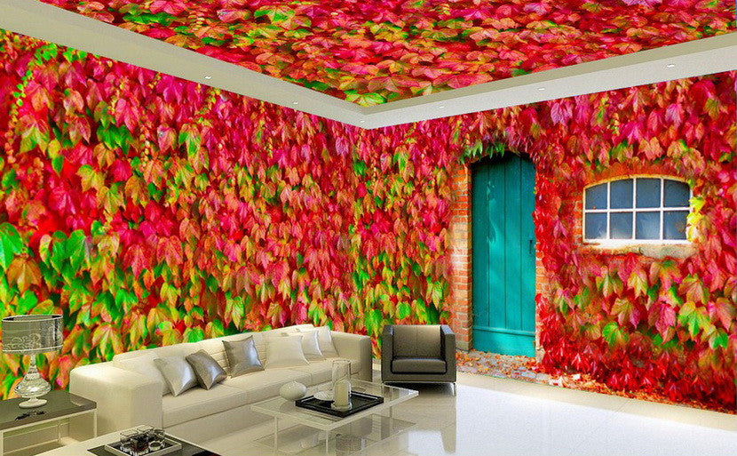 3D Boston Ivy Door Window Entire Living Room Wallpaper Wall Mural Art Decor Prints IDCQW-000189