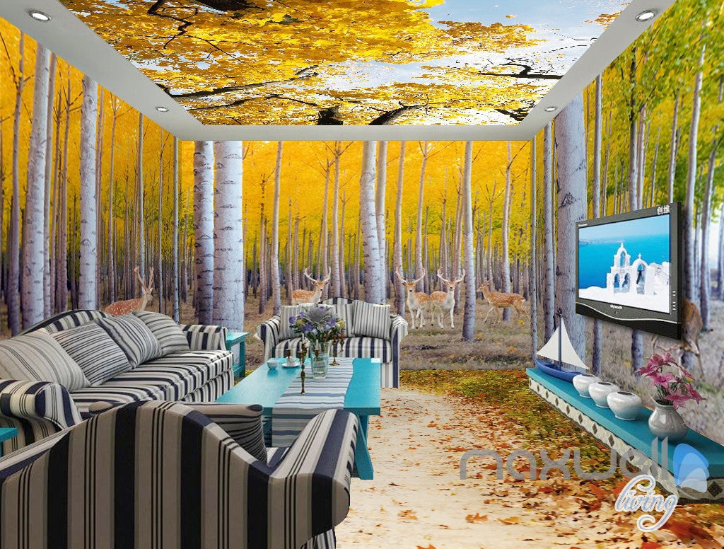 3D Yellow Poplar Forest Entire Living Room Wallpaper Wall Mural Art ...