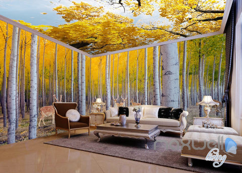 Image of 3D Yellow Poplar Forest Entire Living Room Wallpaper Wall Mural Art Decor Prints  IDCQW-000190