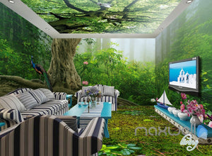 3D Forest Fog Tree Top Ceiling Entire Living Room Wallpaper Wall Mural Art Decor IDCQW-000193